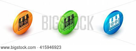 Isometric Shooting Gallery Icon Isolated On White Background. Shooting Range. Circle Button. Vector