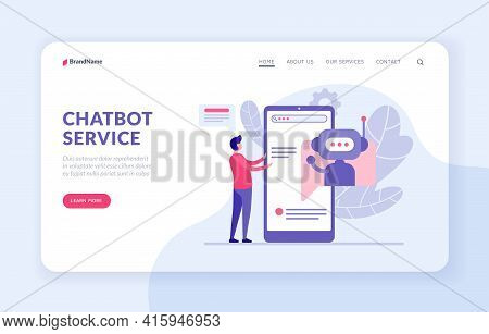 Chatbot Service Landing Page Template With Flat Vector Illustration. Chatbot Assistants To Buyer. Bo