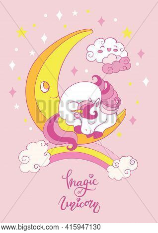Cute Cartoon Baby Unicorn Sleeping On The Moon. Vector Vertical Illustration On Pink Background. For