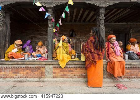 Local Women Resting And Discussing In Kathmandu