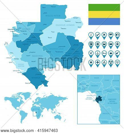 Gabon Detailed Administrative Blue Map With Country Flag And Location On The World Map. Vector Illus