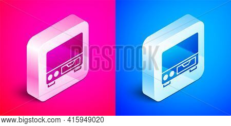 Isometric Old Video Cassette Player Icon Isolated On Pink And Blue Background. Old Beautiful Retro H