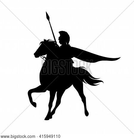 Spartan Warrior With Spear Riding Horse - Brave Ancient Hero Black And White Vector Silhouette Outli