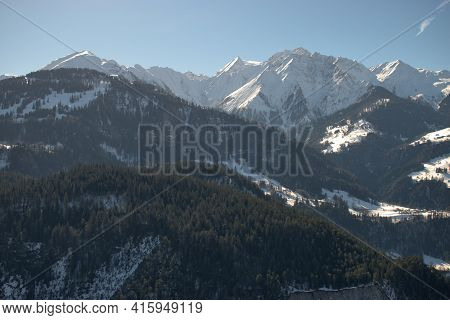 Incredible White Mountains In The Winter Time Near Flims In Switzerland 20.2.2021