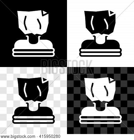 Set Kidnaping Icon Isolated On Black And White, Transparent Background. Human Trafficking Concept. A