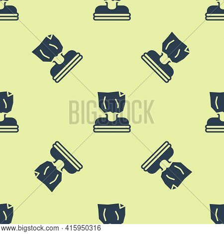 Blue Kidnaping Icon Isolated Seamless Pattern On Yellow Background. Human Trafficking Concept. Abduc