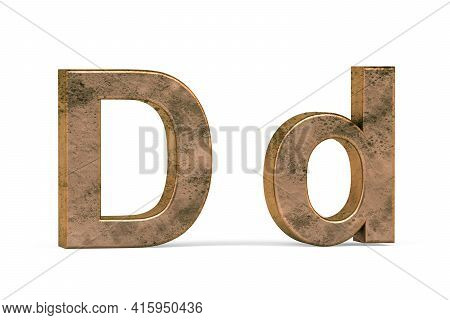 Brass 3d Letter D - Three Dimensional Uppercase And Lowercase D Covered With Old Brass Texture On Wh