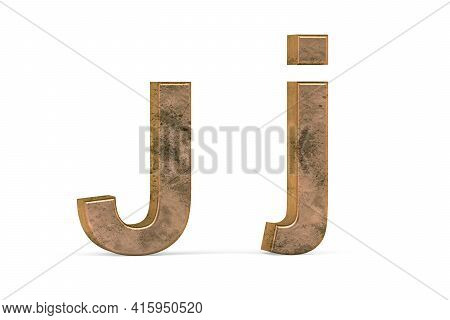 Brass 3d Letter J - Three Dimensional Uppercase And Lowercase J Covered With Old Brass Texture On Wh