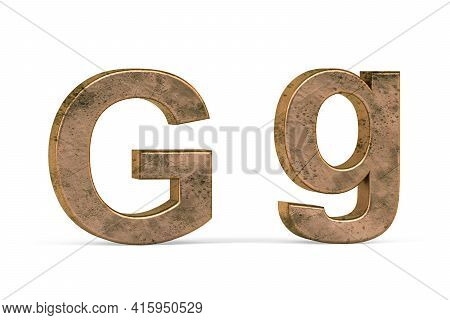 Brass 3d Letter G - Three Dimensional Uppercase And Lowercase G Covered With Old Brass Texture On Wh