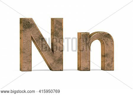 Brass 3d Letter N - Three Dimensional Uppercase And Lowercase N Covered With Old Brass Texture On Wh