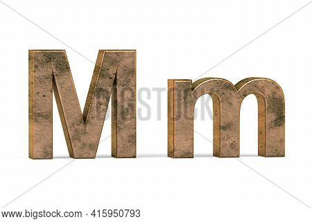 Brass 3d Letter M - Three Dimensional Uppercase And Lowercase M Covered With Old Brass Texture On Wh