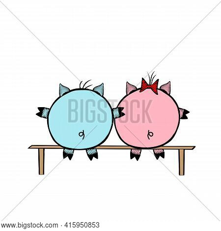A Pair Of A Pink Vector Piggy Fat Girl And A Blue Piggy Boy Sitting On A Bench Together On A White B