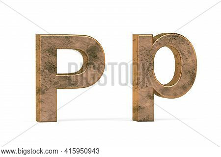 Brass 3d Letter P - Three Dimensional Uppercase And Lowercase P Covered With Old Brass Texture On Wh