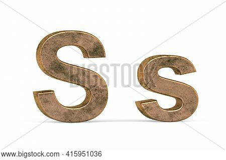 Brass 3d Letter S - Three Dimensional Uppercase And Lowercase S Covered With Old Brass Texture On Wh