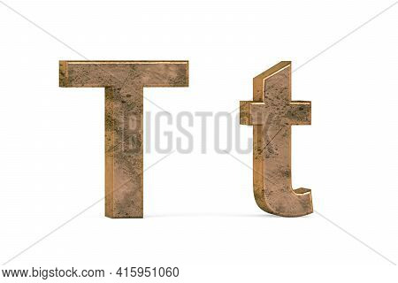 Brass 3d Letter T - Three Dimensional Uppercase And Lowercase T Covered With Old Brass Texture On Wh