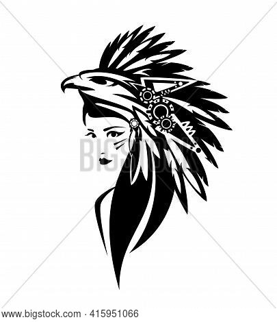 Mesoamerican Indian Chief Woman Wearing Traditional Feathered Headdress With Eagle Head Black And Wh