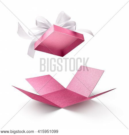 Surprise Gift Box, Pink Color Open Gift Box With White Bow Isolated On White