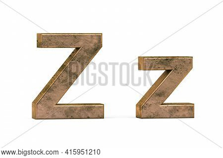 Brass 3d Letter Z - Three Dimensional Uppercase And Lowercase Z Covered With Old Brass Texture On Wh