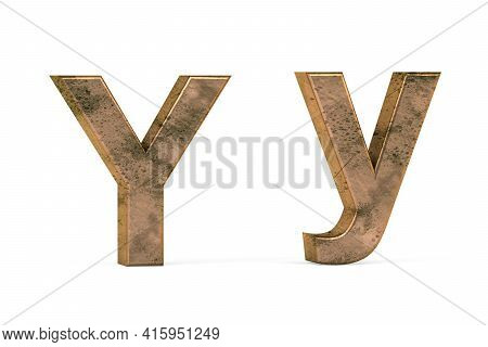 Brass 3d Letter Y - Three Dimensional Uppercase And Lowercase Y Covered With Old Brass Texture On Wh