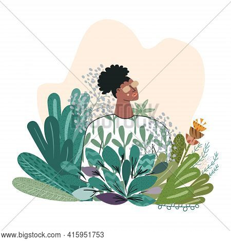 Beauty Portrait Of Young Sensual African American Woman With Flowers Isolated On White Background. P