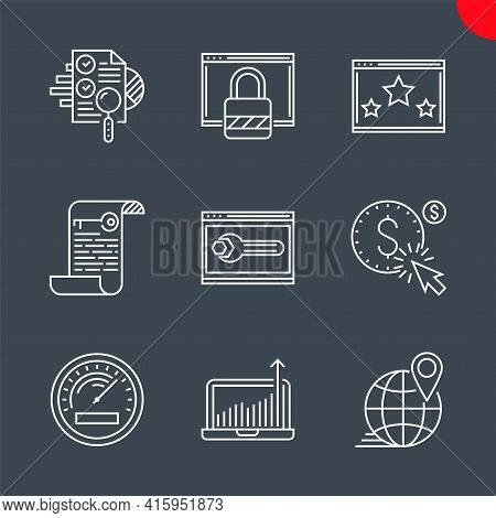 Seo Related Vector Line Icons Set. Audit, Keywording, Growth Traffic, Ranking, Efficiency, Pay Per C