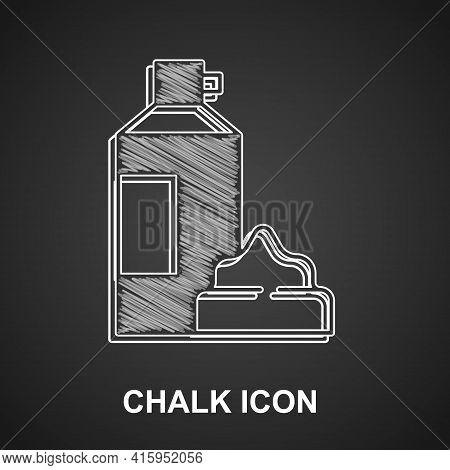 Chalk Whipped Cream In An Aerosol Can Icon Isolated On Black Background. Sweet Dairy Product. Milk P