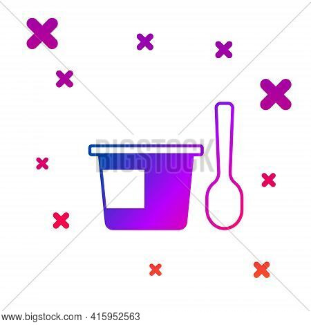 Color Yogurt Container With Spoon Icon Isolated On White Background. Yogurt In Plastic Cup. Gradient