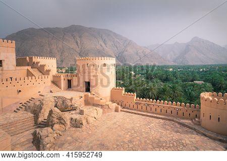 Nakhal,oman - 04.01.2018: Yard Inside The Medieval Arabian Fort.