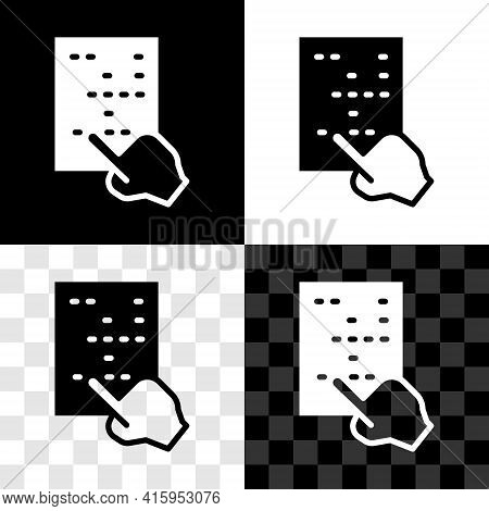 Set Braille Icon Isolated On Black And White, Transparent Background. Finger Drives On Points. Writi