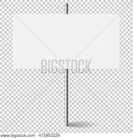 White Rectangle Blank Banner Mock Up On Metal Stick. Protest Placard, Public Transparency With Metal