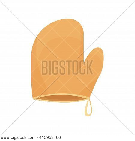 Oven Mitt, Hot Holder, Baking Glove In Cartoon Flat Style Isolated On White Background. Kitchen Prot