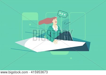 Woman Flying On Paper Origami Vector Illustration. Office White Paper, Handmade Origami Flat Style.