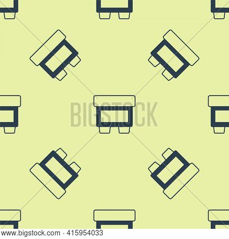 Blue Fuse Of Electrical Protection Component Icon Isolated Seamless Pattern On Yellow Background. Me
