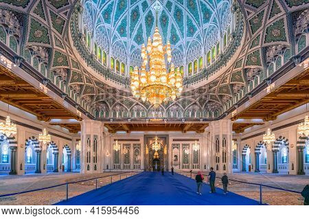 Muscat, Oman - 04.04.2018: Awe Inspiring Interior Of Sultan Qaboos Grand Mosque.