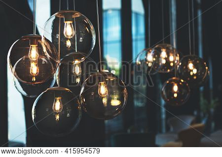 Beautiful And Cosy Luxury Light Lamp. Cosy Cafe, Coffee Shop Or Lounge Interior. Vintage And Minimal