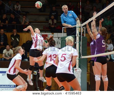 KAPOSVAR, HUNGARY - JANUARY 27: Zsanett Pinter (with ball) in action at the Hungarian I. League volleyball game Kaposvar (white) vs Ujpest (purple), January 27, 2013 in Kaposvar, Hungary.