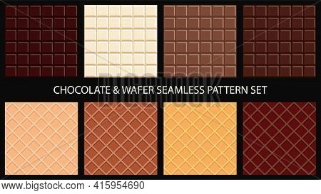 Chocolate Bar And Wafer Seamless Pattern Set. Vector Illustration