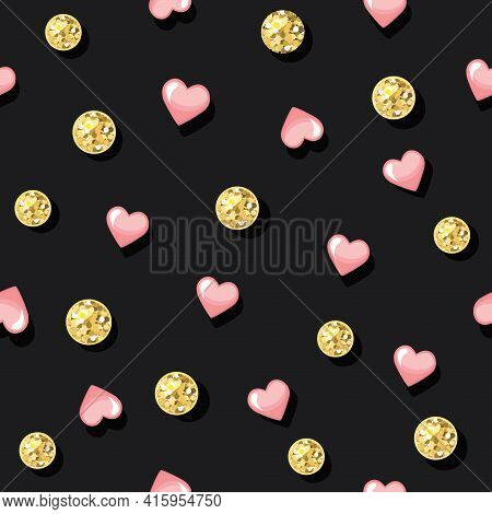 Glitter Confetti Polka Dot Seamless Pattern Background. Golden Dots And Pink Hearts. For Birthday, V