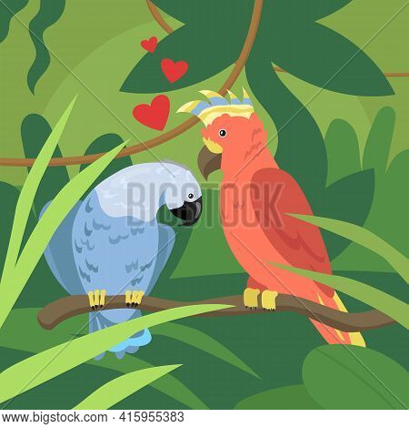 Cute Parrots Couple In Love On Branch. Wild Tropical Birds, Exotic Multicolored Parrots, Lovebirds F