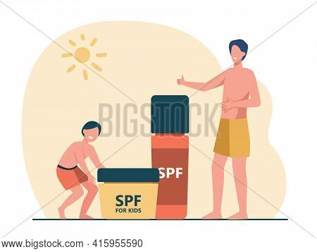 Cartoon Tiny Adult And Kid Characters With Giant Sunscreen. Flat Vector Illustration. Tanned Father