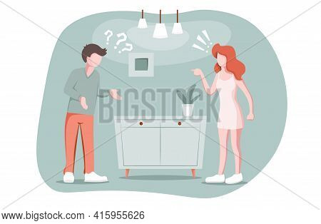 Divorce, Breakup Love Concept. Married Couple Quarrels, Woman Accuses Man Of Something, Misunderstan