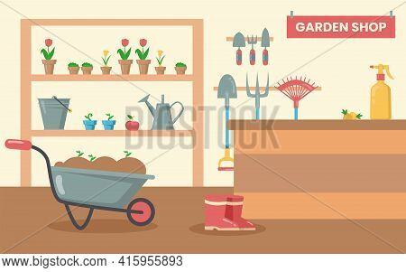Shop With Tools For Garden. Gardening Equipment, Shovel, Rake, Bucket, Watering Can, Spade, Flowers
