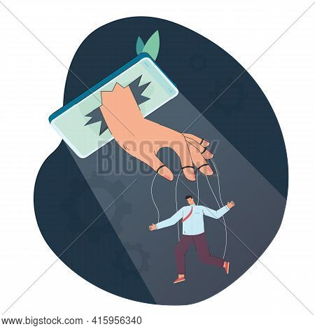 Man Controlled By Phone As Puppet. Internet Or News Controlling Person Flat Vector Illustration. Soc