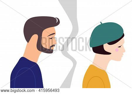 Couple Breaks Up. Girl Leaves Guy. Adult Man And Woman. Flat Vector Illuctration. Concept Of Divorce