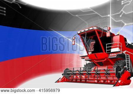 Digital Industrial 3d Illustration Of Red Advanced Farm Combine Harvester On Donetsk Peoples Republi