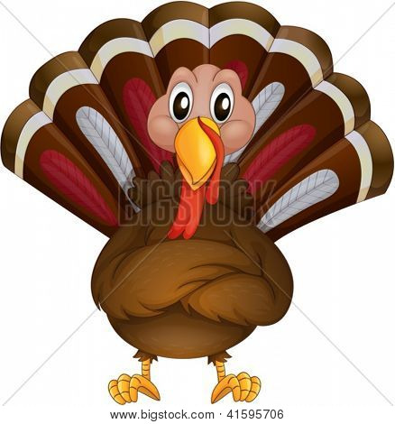 Illustration of a problematic turkey on a white background
