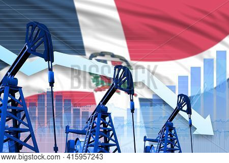 Dominican Republic Oil Industry Concept, Industrial Illustration - Lowering Down Chart On Dominican