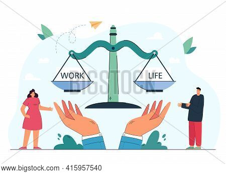 Man Balancing Life And Work On Scales. Controlling Time For Career And Relationship Or Family Flat V