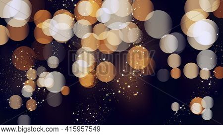 Bokeh Background With Golden Glitter Particles. Gold Confetti With Magic Light. Luxury Beautiful Fes