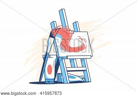 Easel For Painting Vector Illustration. Tubes With